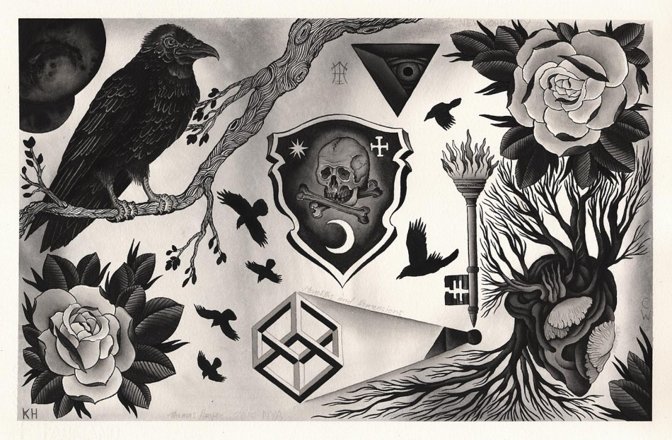Tattoo Flash - Raven & Co. by Thomas Hooper