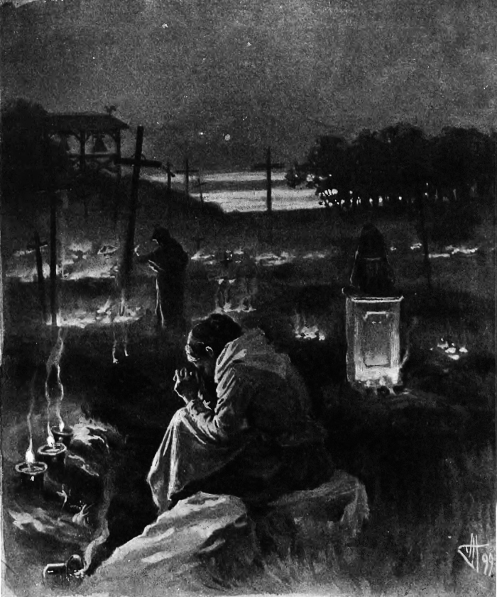 "Jan Holewiński (Polish, 1871-1927), ""W Zaduszny Dzień"" (During the Zaduszki - All Souls Day in Poland). Copy of the painting published in ""Wędrowiec"" magazine, 1899"