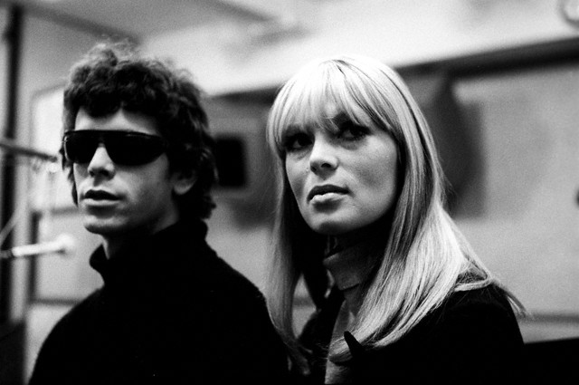 ca. 1965 --- Lou Reed and Nico in the recording studio with The Velvet Underground. --- Image by © Steve Schapiro/Corbis