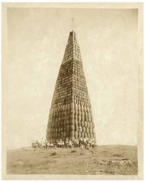 Tower of alcohol barrels to be burned during the Prohibition, 1924