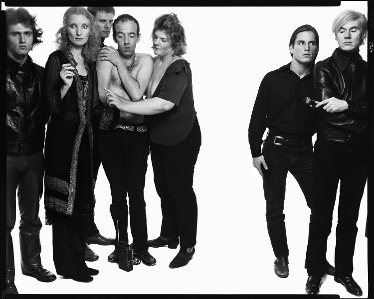 Andy Warhol and members of The Factory: Gerard Malanga, poet; Vi
