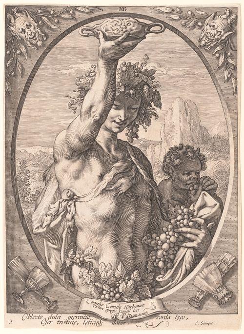 'Bacchus' engraving by Hendrick Goltzius (Dutch, Mühlbracht 1558-1617 Haarlem) .
