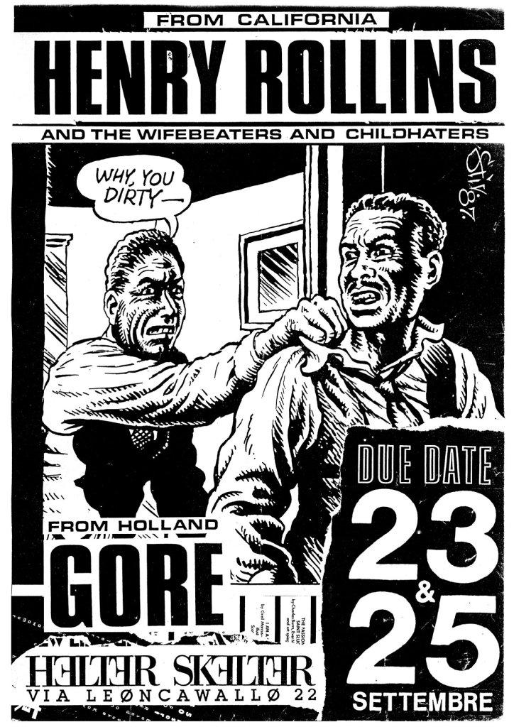 23-25 Settembre 1987 C.S. Leoncavallo Henry Rollins - Gore - Helter Skelter (Grafica Stiv)
