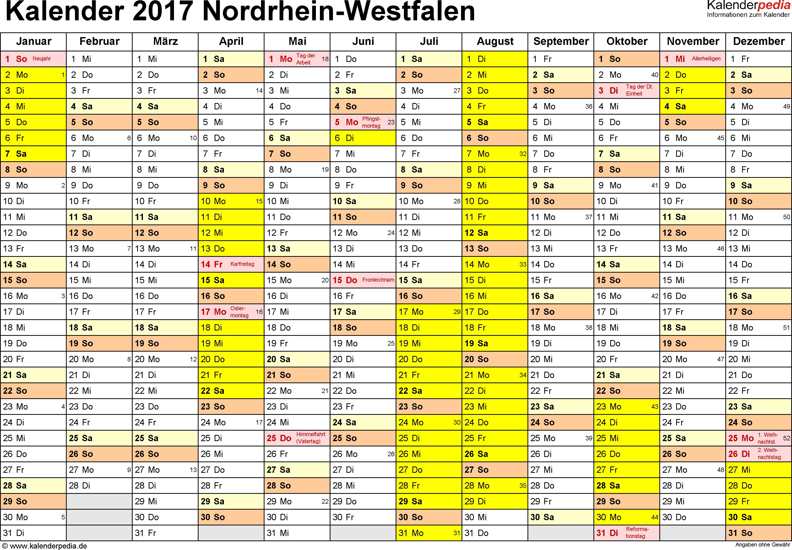 Kalender 2017 Nrw Excel