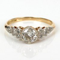 Buy Antique diamond engagement ring in gold and platinum ...