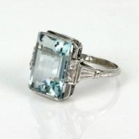 Buy Art Deco platinum aquamarine and diamond ring Sold ...