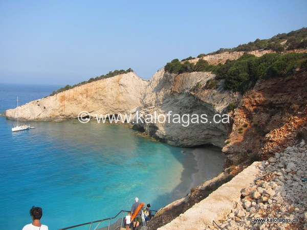 descending steps down to Porto Katsiki beach, Lefkada