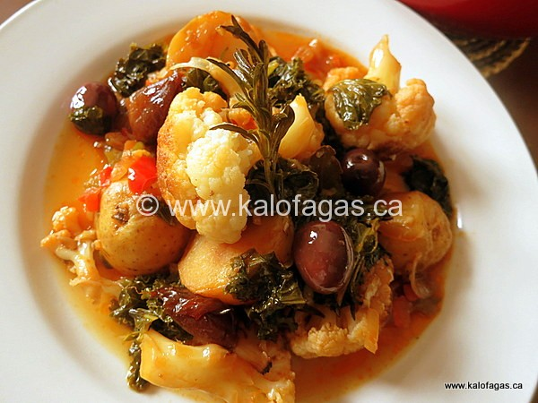 Cauliflower Stifado With Kale & Kalamata Olives