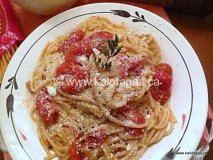 Spaghetti With Roasted Cherry Tomatoes & Dry Mizithra Cheese