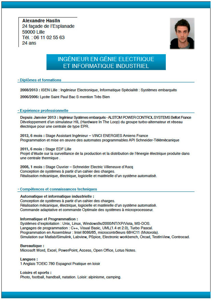 stages alternance cv