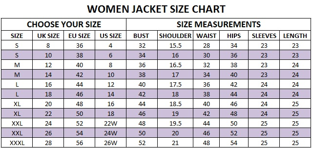 Size Charts Super Hero Jackets, Movies Jacket  Men Women Fashion