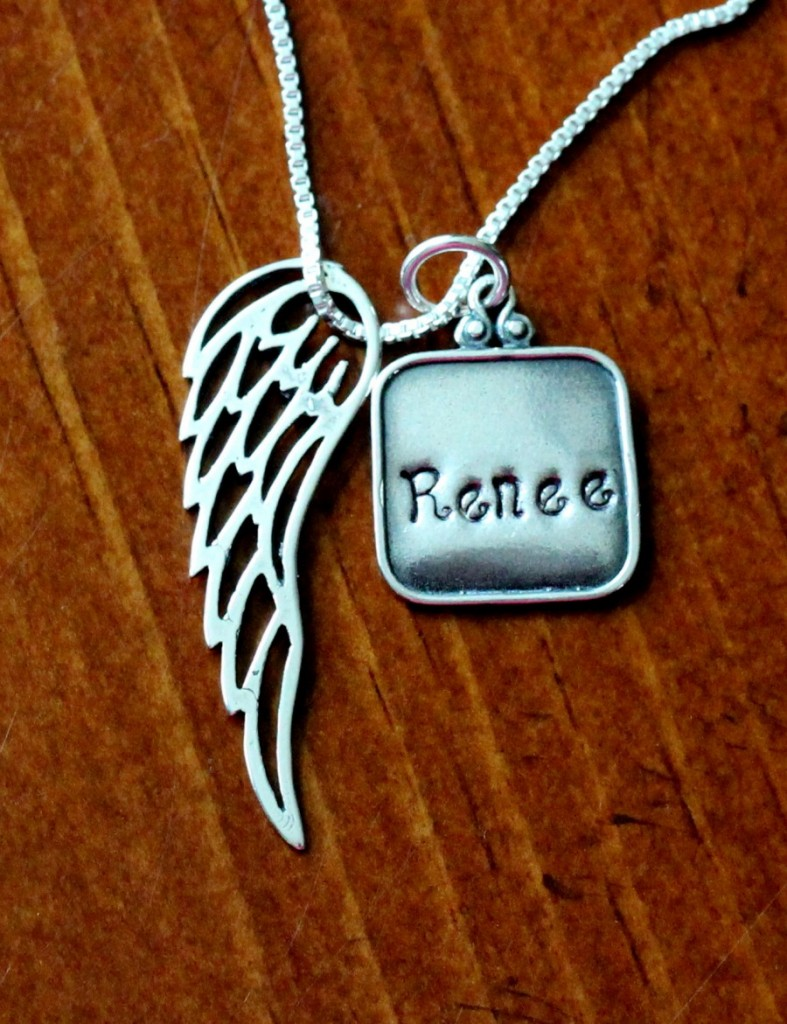 Personalized Angel Wing Necklace Kandsimpressions