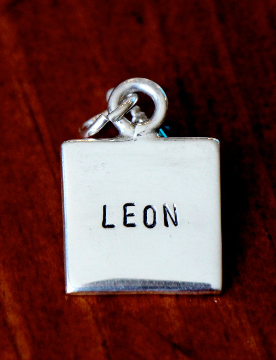 square name charm hand stamped