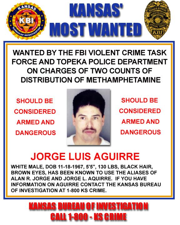 KBI - Kansas Bureau of Investigation - Kansas Most Wanted - Jorge - criminal wanted poster