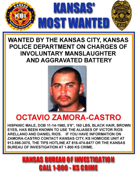 KBI - Kansas Bureau of Investigation - Kansas Most Wanted - Octavio - criminal wanted poster