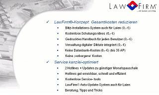 Anwaltssoftware / Kanzleisoftware - günstig, preiswert, optimale Konditionen, niedrige Gesamtkosten, faire Preise, keine lange Vertragsbindung, keine teuren Module, vom Einzelanwalt bis zur Groß-Kanzlei, auch standortübergreifende Sozietät, Rechtsabteilung, engagierter kompetenter gut erreichbarer Service