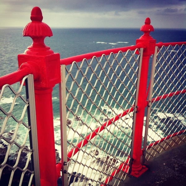 Railings at the top of the Cape Otway Lighthouse on the Great Ocean Road in Victoria, Australia