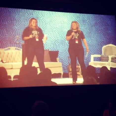 The P31 Online Bible Studies dynamic duo of Nicki Koziarz and Melissa Taylor giving announcements and a light comedy routine.