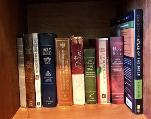 Some of the reference books and Bibles I use, along with my childhood Bible my mom saved and gave to me a few years ago.