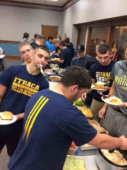 The football team at our team dinner before our second playoff game. These boys can eat!