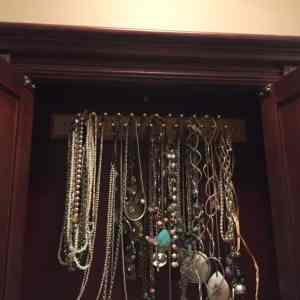 Turn a tie rack into a necklace rack!