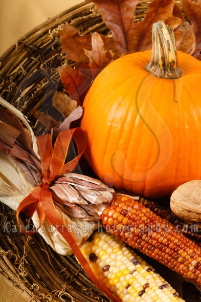 Fall decorations with pumpkins and flint corn