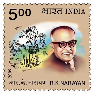 Stamp commemorating author RK Narayan