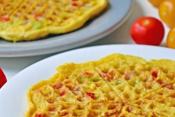 Potato, ham and parmesan waffles