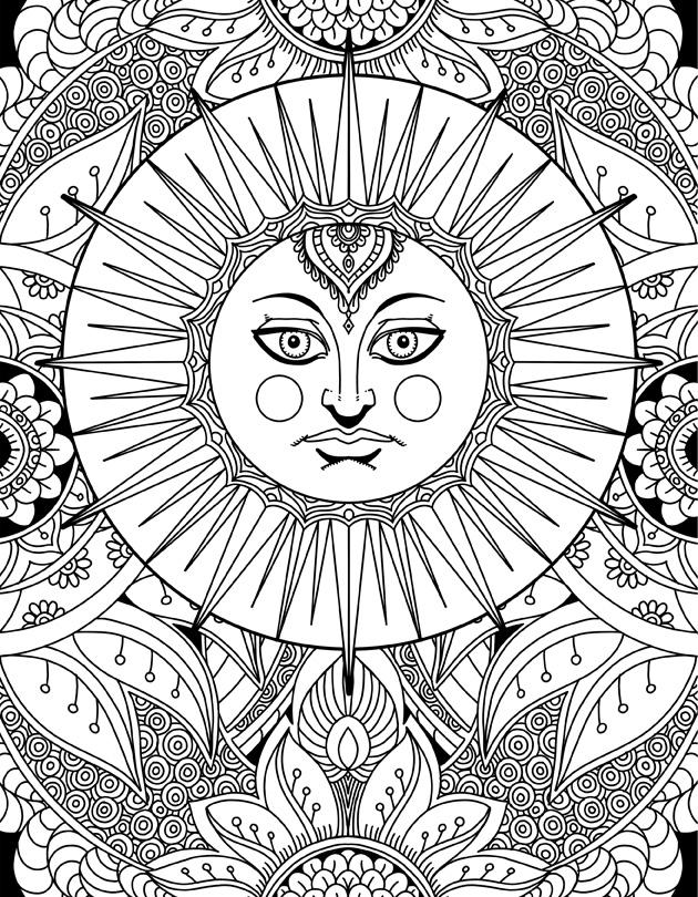 Sun Goddess Doodle Art Adult Coloring Page Karyn Lewis Illustration