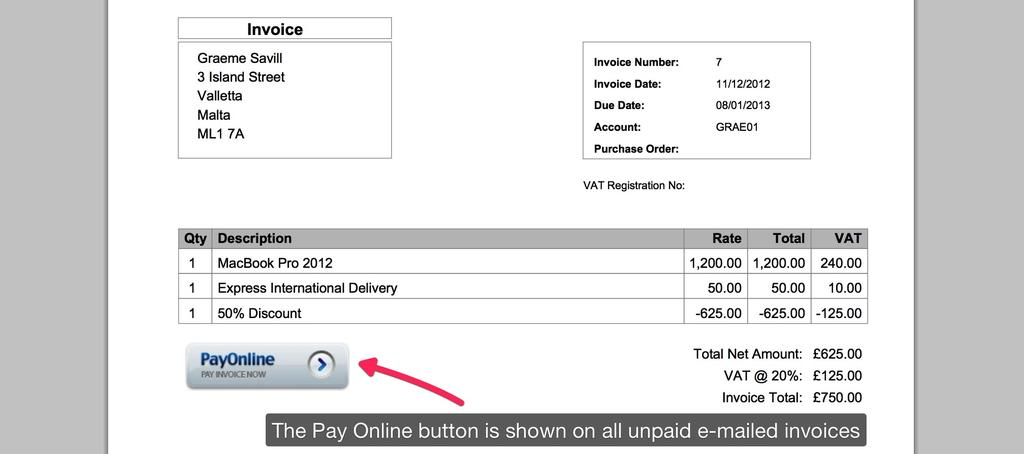 Pay Online Button - Step 1 - Setting up Pay Online - KashFlow
