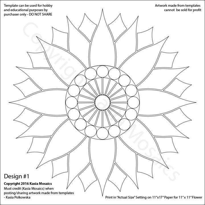 Kasia Mosaics Classes » Template Download Flower Design #1 - flower template