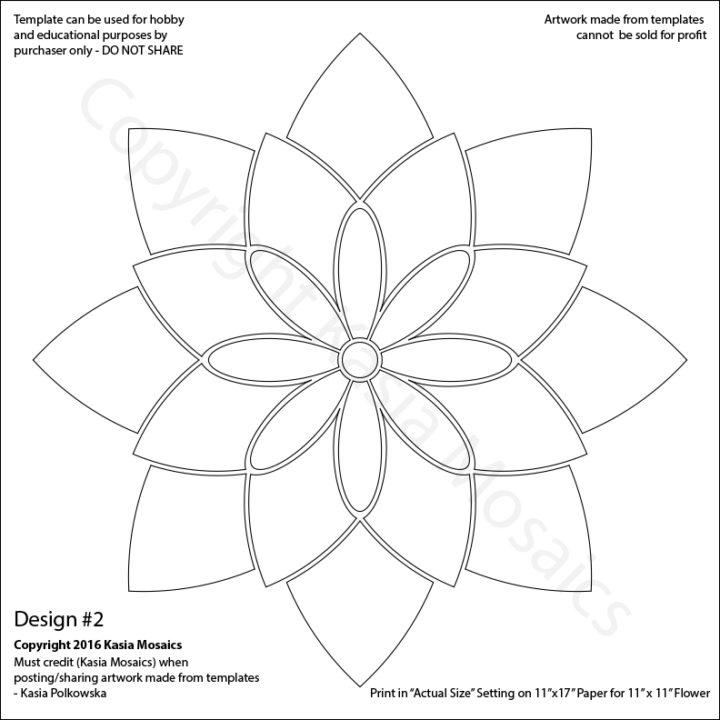 Kasia Mosaics Classes » Template Download Flower Design #2