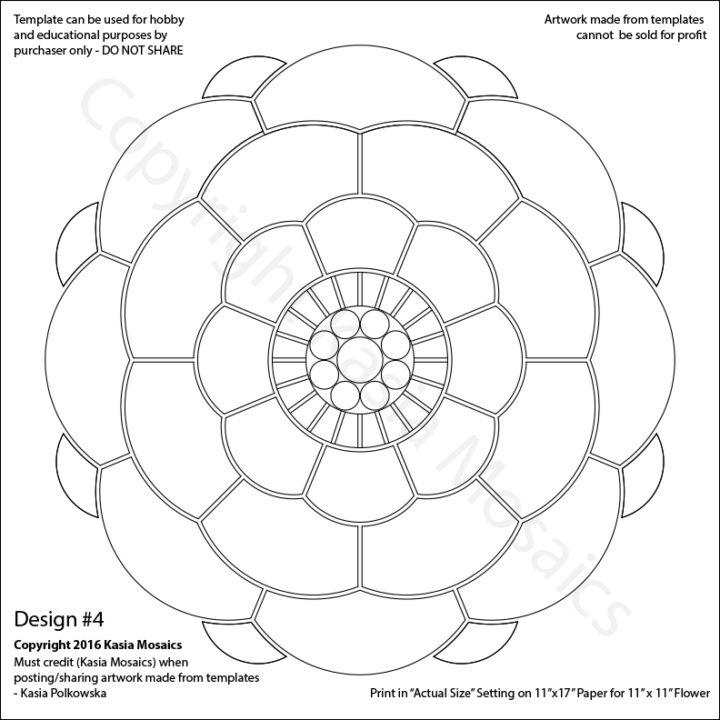 Kasia Mosaics Classes » Template Download Flower Design #4 - flower template