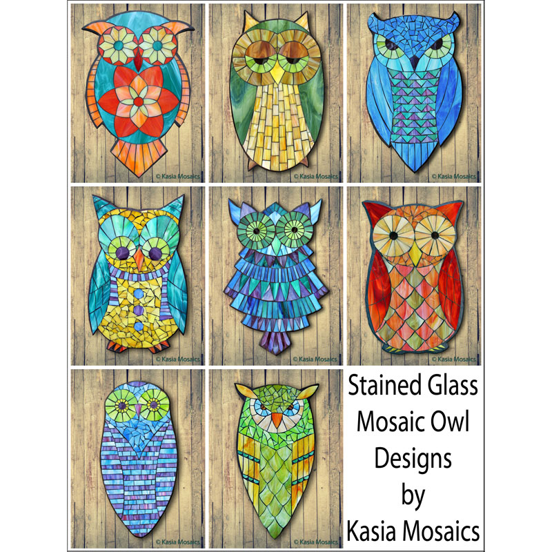 Kasia Mosaics Classes » Template Download Complete Owl Set (QTY 8)