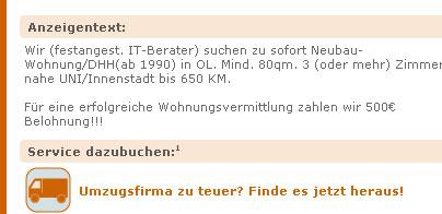 """Anzeige """"Zahle Prämie für Wohnungsvermittlung"""""""