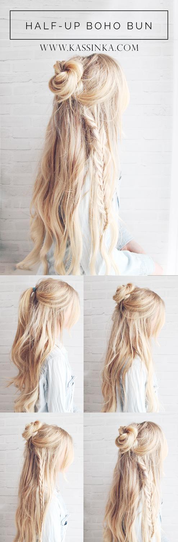Half Up Boho Braided Bun Hair Tutorial Kassinka Bloglovin