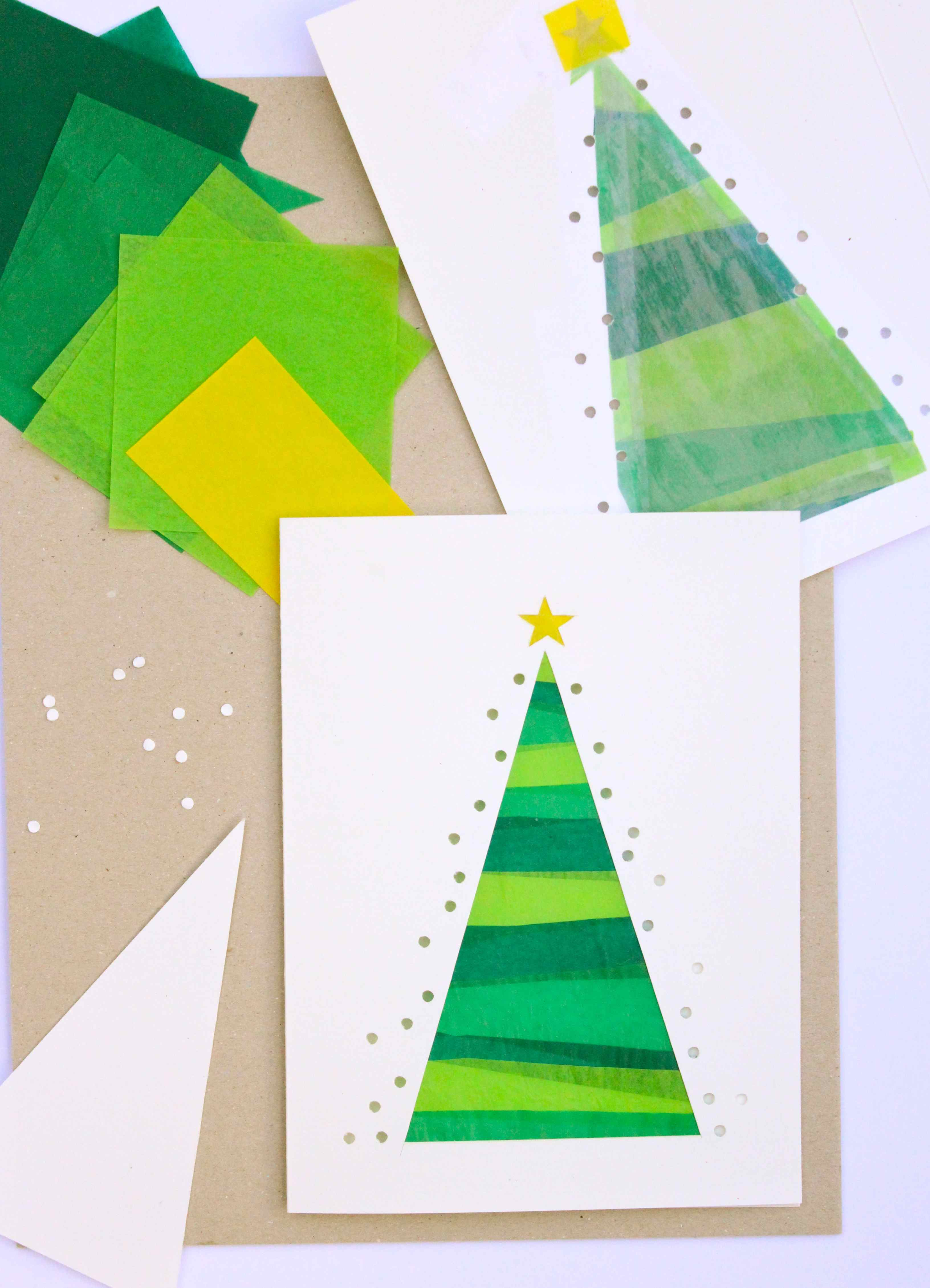 stained glass christmas tree diy card