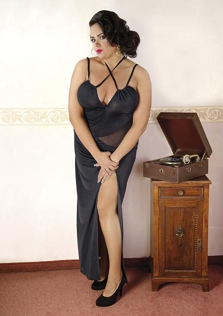 C/4002 Elegantes, schwarzes Kleid von Andalea