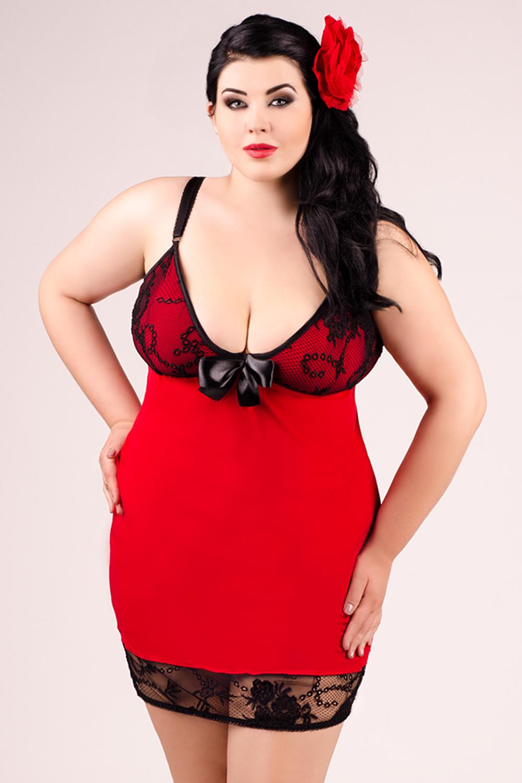 rot/schwarzes Kleid E/2010 von Andalea Dessous