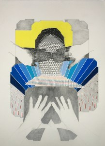"""Push Back Color pencil and reflective tape on paper 30""""x22"""""""