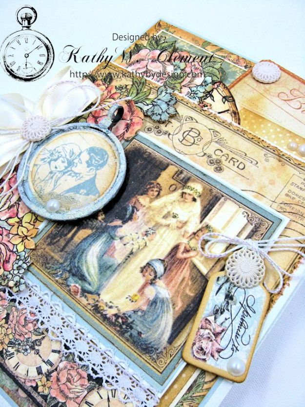 Pastels and Pearls  Wedding Card for Frilly and Funkie,  Graphic 45 Ladies' Diary Wedding Card by Kathy Clement 06