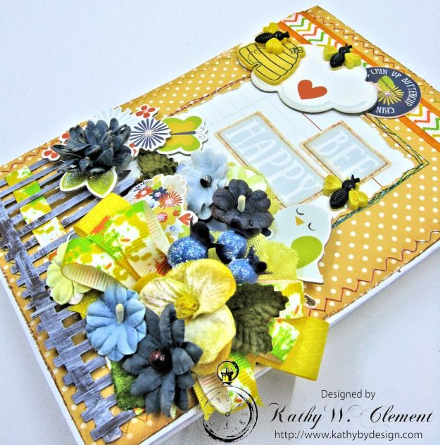 Bee Happy Tri Fold Card by Kathy Clement for Really Reasonable Ribbon Product  Simple Stories Bloom and Grow Photo 2
