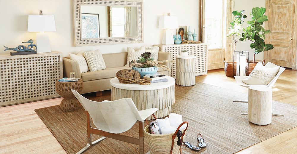 Coastal Beach Furniture, Lighting \ Home Decor Kathy Kuo Home - beach living room furniture