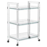 Interlude Ava Modern Acrylic and Glass Serving Bar Cart ...