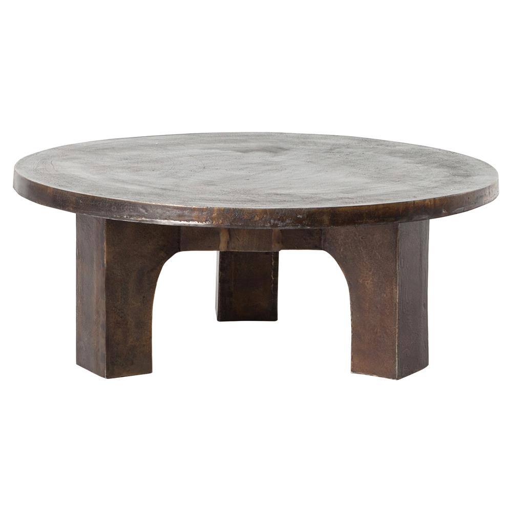 Ziah Industrial Loft Antique Rust Round Coffee Table
