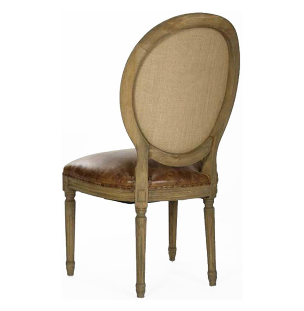 French Country Louis XVI Oval Back Leather Dining Side