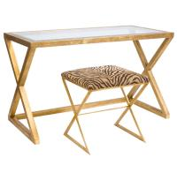 Vanessa Hollywood Regency Gold Leaf Glass Desk | Kathy Kuo ...