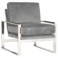 Avdel Modern Grey Velvet Stainless Steel Armchair
