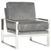 Avdel Modern Grey Velvet Stainless Steel Armchair | Kathy ...