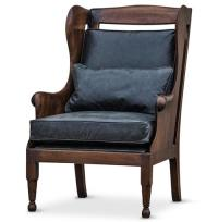 Normandy Solid Carved Walnut Wood Black Leather Wing Chair ...